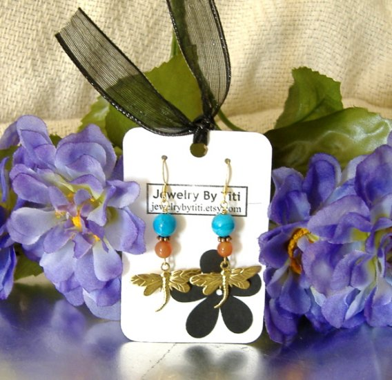 FREE SHIPPING Dragon fly with turquoise and aventurine earrings