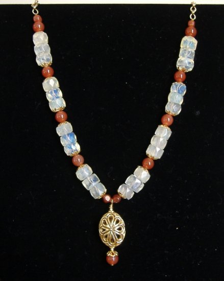 FREE SHIPPING Pineapple quartz and carnelian necklace