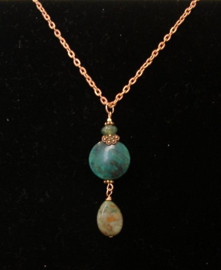 FREE SHIPPING Amazing green opal pendant on copper chain