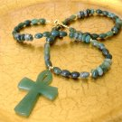 FREE SHIPPING Moss agate ankh pendant necklace and earrings