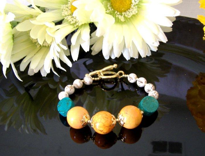 FREE SHIPPING Orange grove citrus turquoise bracelet