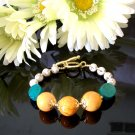 FREE SHIPPING Orange grove citrus turquoise bracelet
