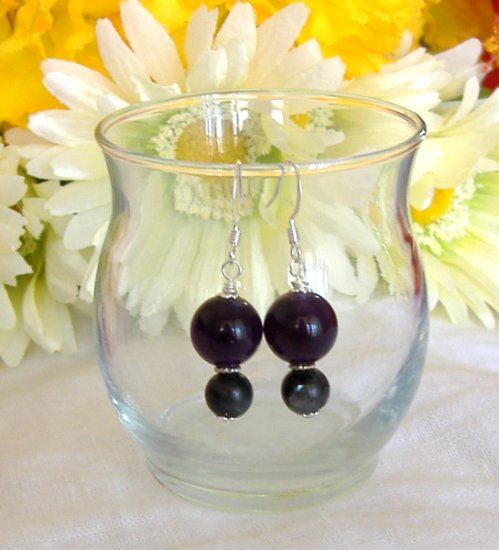 FREE SHIPPING Amethyst and labradorite earrings