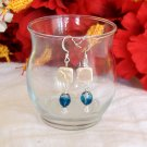FREE SHIPPING blue and white earrings with mother of pearl