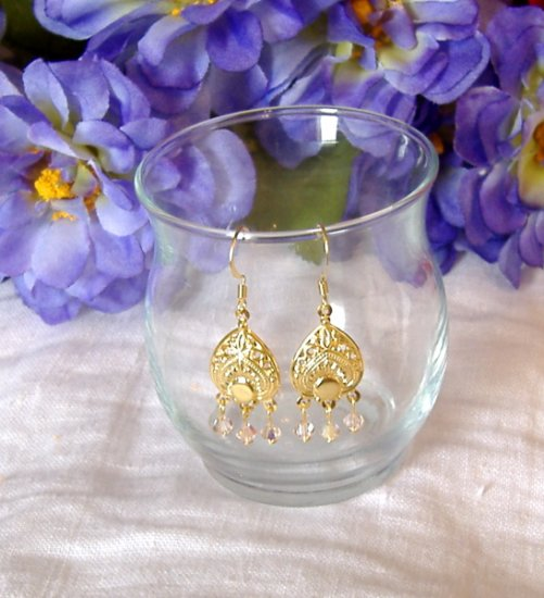 FREE SHIPPING Gold romance and swarovski crystal earrings