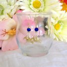 FREE SHIPPING Cobalt blue glass and bird charm earrings