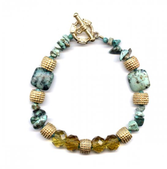 FREE SHIPPING Absolutely Gorgeous African Turquoise and citrine glass Bracelet