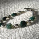 FREE SHIPPING green indian agate and silver BRACELET