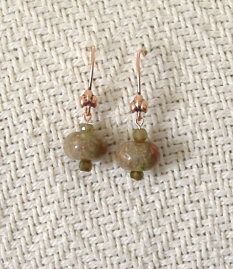 FREE SHIPPING Pretty Autumn jasper stone beads on copper earrings