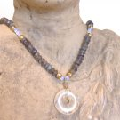 FREE SHIPPING Labradorite and pineapple quartz donut pendant necklace
