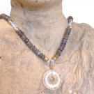FREE SHIPPING Labradorite and pineapple quartz donut pendant necklace