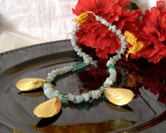 FREE SHIPPING Mermaid Goddess Golden sea shells and Amazonite necklace