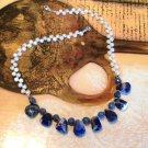 FREE SHIPPING Oh So Stunning deep blue sodalite nuggets and pearls necklace MUST SEE