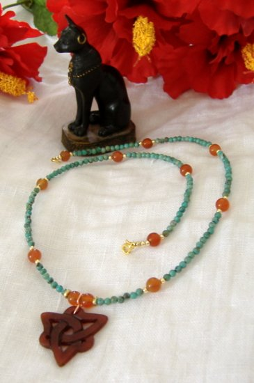 FREE SHIPPING Mystic and ancient beauty Turquoise and red agate necklace with charmed pendant