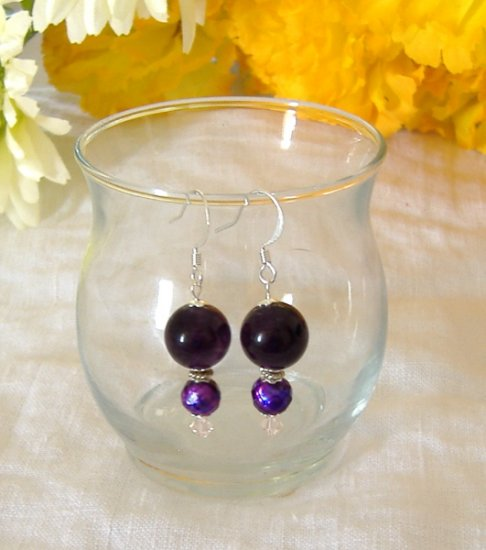 FREE SHIPPING Deep purple amethyst and faceted purple pearls earrings