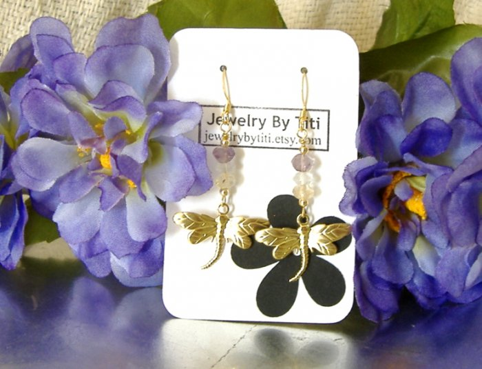 FREE SHIPPING dragonfly with tri stone earrings