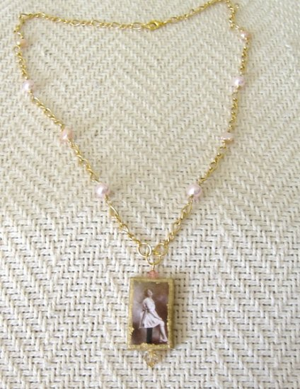 FREE SHIPPING Vintage photo on femo pendant on gold plated chain