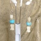 FREE SHIPPING simple and perfect mother of pearl and light blue turquoise earrings