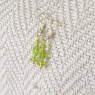 FREE SHIPPING peridot green glass earrings Simple and pretty