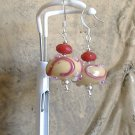 FREE SHIPPING Beautiful tan and reddish pink lampwork glass beads earrings