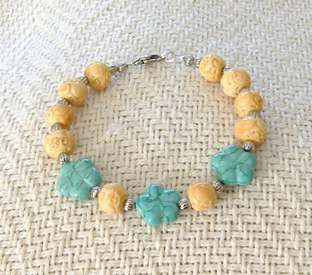 FREE SHIPPING Simply gorgeous carved bone and carved turquoise bracelet