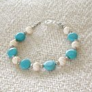 FREE SHIPPING Very pretty and simple light blue turquoise and bone bracelet