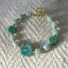 FREE SHIPPING stunning amazonite bracelet with carved flower stones