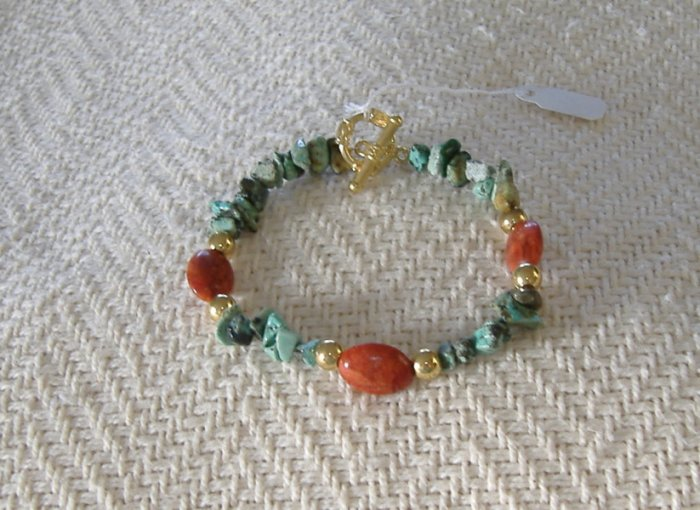 FREE SHIPPING Beautiful african turquoise and red coral bracelet Very Pretty
