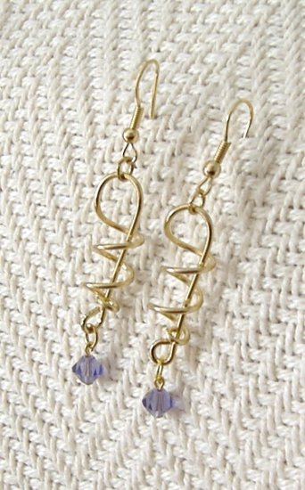 FREE SHIPPING Gold plated wire formed earrings with swarovski crystal accent