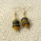 FREE SHIPPING Gorgeous yellow greens and blues lampwork glass beads earrings