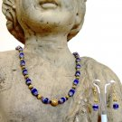 FREE SHIPPING Blue Czech Cathedral glass beaded necklace