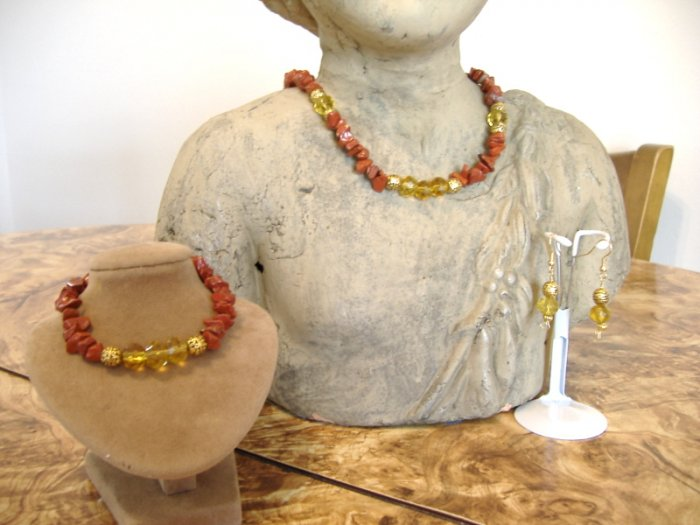 FREE SHIPPING Red jasper and citrine glass necklace bracelet earrings set
