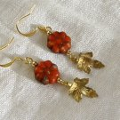 FREE SHIPPING red pressed glass flowers and gold leaf earrings