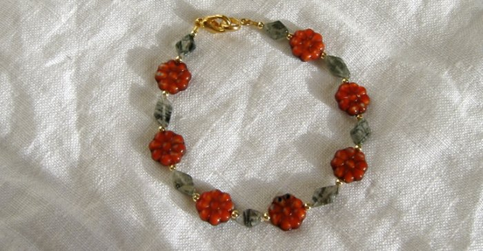 FREE SHIPPING red flowers and rutillated quartz bracelet