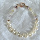 FREE SHIPPING Pearl button and gemstone bracelet