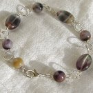 FREE SHIPPING Flourite and purple lace agate bracelet