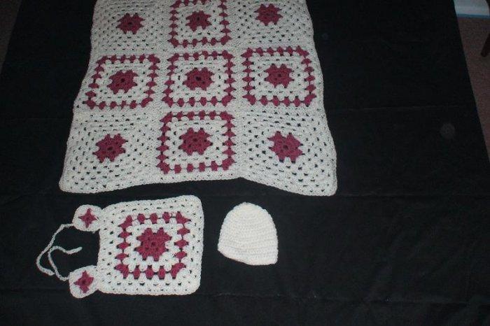 Mauve and White Baby Set
