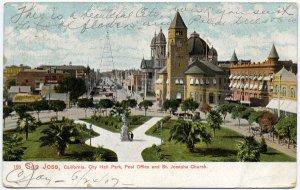 San Jose, CA - City Hall Park, PO, & St. Josephs Church c1907