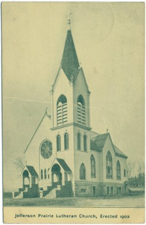 Jefferson Prairie Lutheran Church, c1909 WI Postcard
