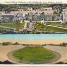 High School & Stadium, San Diego Postcard c1932