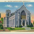 First Christian Church, Asheville, NC Linen Postcard