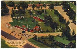Bowman's Auto Courts, Tallahassee, FL Linen Postcard