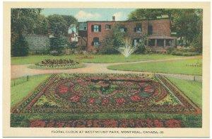 Floral Clock at Westmount Park, Montreal Postcard