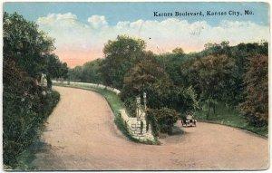 Karnes Boulevard, Kansas City, MO c1924 Postcard