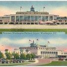 Terminal, Washington National Airport Linen Postcard
