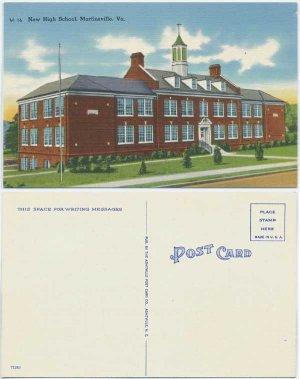 New High School, Martinsville, VA c1950 Postcard