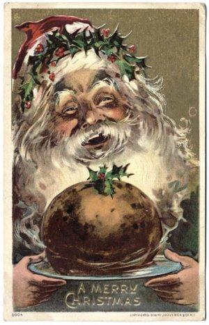 Santa Serving Up Christmas Feast c1910 Postcard