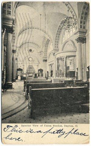 Interior View, Union Station, Dayton, OH c1908 Postcard