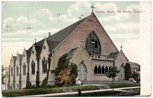 St. Marks Church, Seattle, WA c1909 Postcard