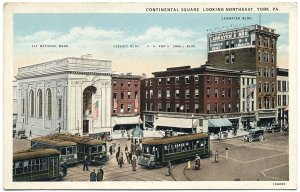 Continental Square Looking NE, York, PA c1920s Postcard